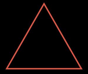 Kuvassa on punainen kolmio mustalla taustalla