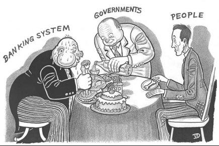 Kuva:Poliitikot ruokkii pankkiireja