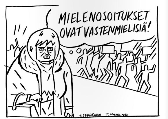 Kuva: sarjakuvantekijöiden rasisminvastainen Nyt riittää -lehti.